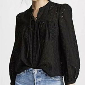 Madewell Eyelet Double-Tie Peasant Top